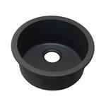 Elkay® ELG16FBBK0 Classic® Bar Sink, Circular, 18-1/8 in L x 18-1/8 in W x 7-1/2 in D, Top/Under Mount, Quartz, Black, Import