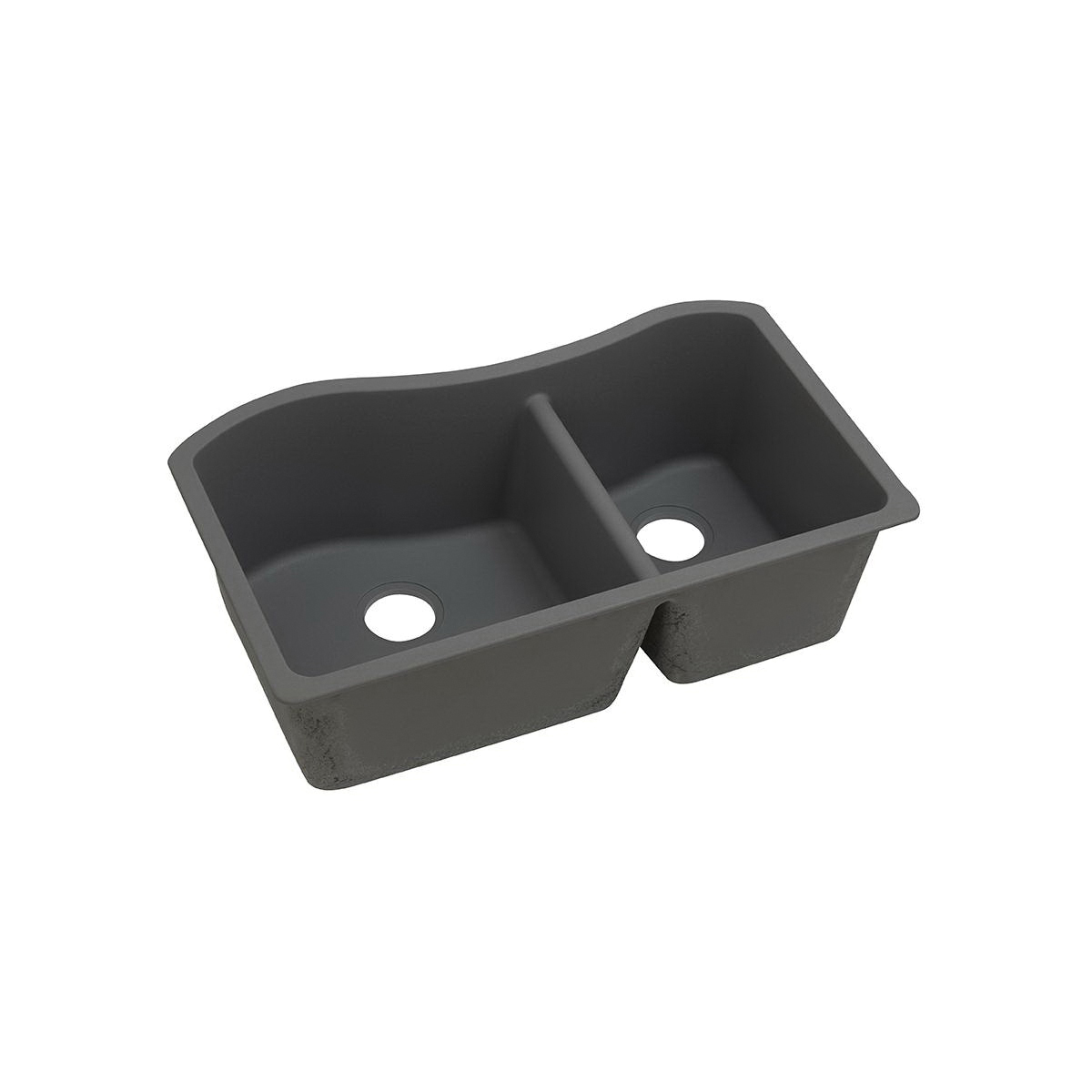 Elkay® ELGHU3220RGY0 Classic Traditional Kitchen Sink, Rectangular, 20 in W x 10 in H, Under Mount, Quartz, Dusk Gray, Import