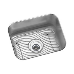 Elkay® ELUH129DBG Gourmet Bar Sink Kit, Rectangular, 14-1/2 in W x 11-3/4 in D x 7 in H, Under Mount, Stainless Steel, Lustertone, Domestic