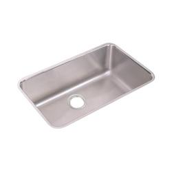 Elkay® ELUH281610 Lustertone Kitchen Sink, Rectangular, 18-1/2 in W x 10 in D x 30-1/2 in H, Under Mount, Stainless Steel, Lustertone, Domestic
