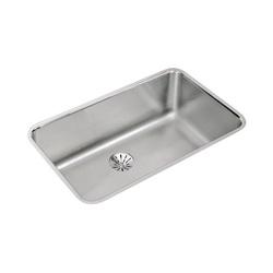 Elkay® ELUH281610PD Gourmet Kitchen Sink, Rectangular, 18-1/2 in W x 10 in D x 30-1/2 in H, Under Mount, Stainless Steel, Lustertone, Domestic