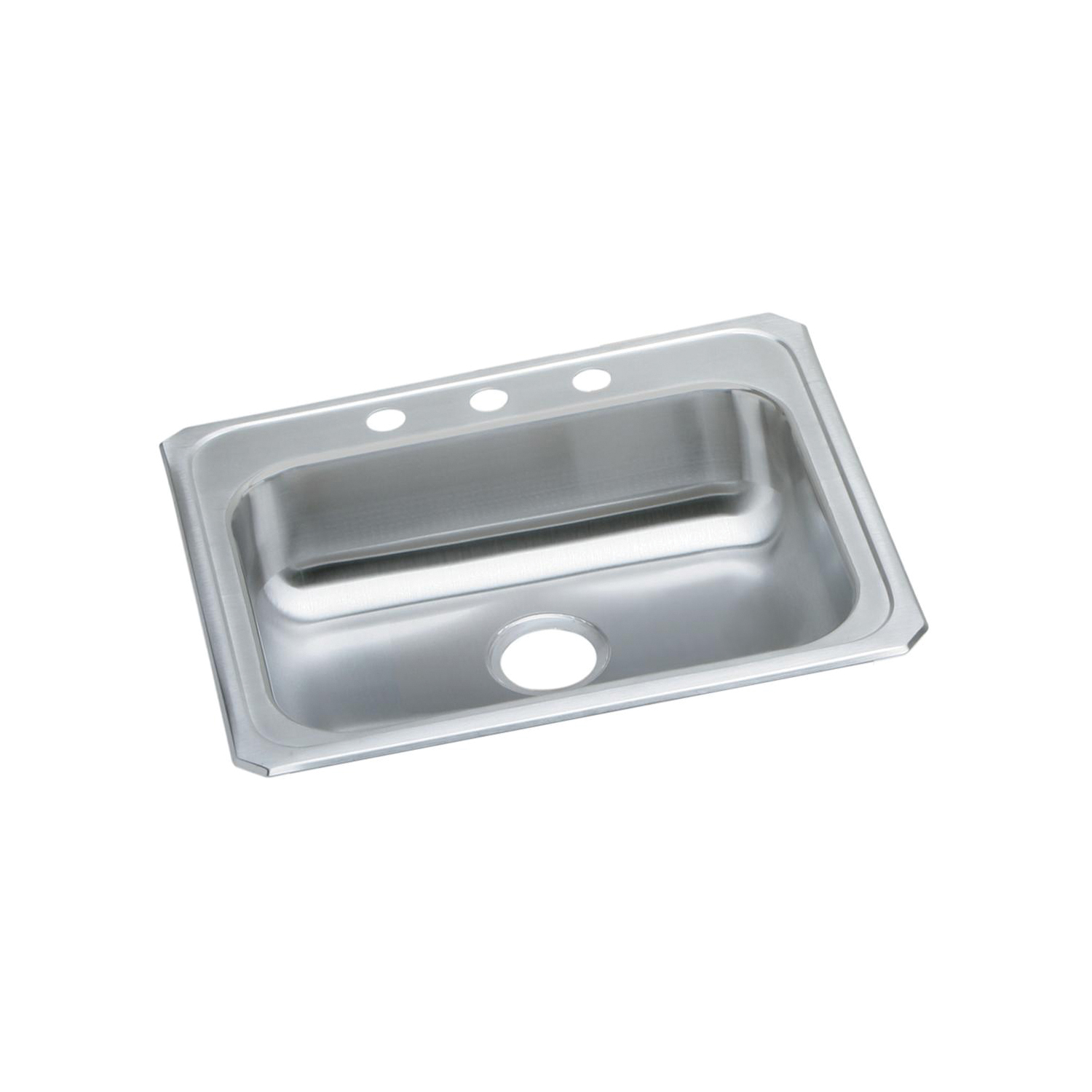 Elkay® GECR25213 Celebrity Kitchen Sink, Rectangular, 3 Faucet Holes, 25 in W x 21-1/4 in D x 5-3/8 in H, Top Mount, Stainless Steel, Brushed Satin, Domestic