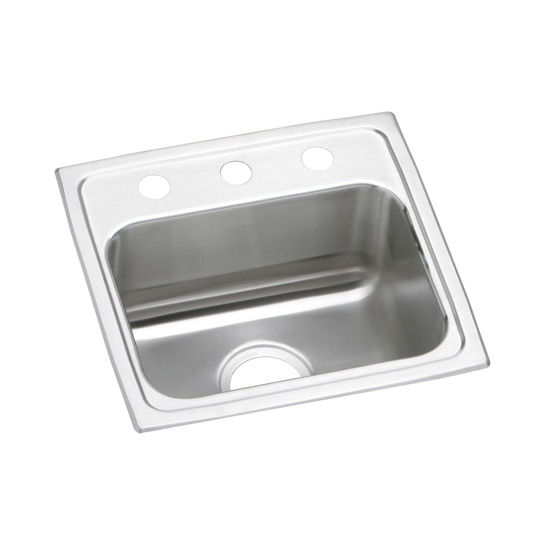 Elkay® LR17162 Kitchen Sink, Gourmet, Rectangular, 14 in L x 10 in W x 7-1/2 in D Bowl, 2 Faucet Holes, 17 in L x 16 in W x 7-5/8 in H, Top Mount, Stainless Steel, Lustertone