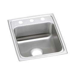Elkay® LR17203 Gourmet Kitchen Sink, Rectangular, 3 Faucet Holes, 17 in W x 20 in D x 7-5/8 in H, Top Mount, Stainless Steel, Lustertone, Domestic