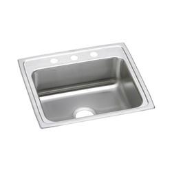 Elkay® LR22191 Kitchen Sink, Gourmet, Rectangular, 18 in L x 14 in W x 7-1/2 in D Bowl, 1 Faucet Hole, 22 in L x 19-1/2 in W x 7-5/8 in H, Top Mount, Stainless Steel, Lustertone
