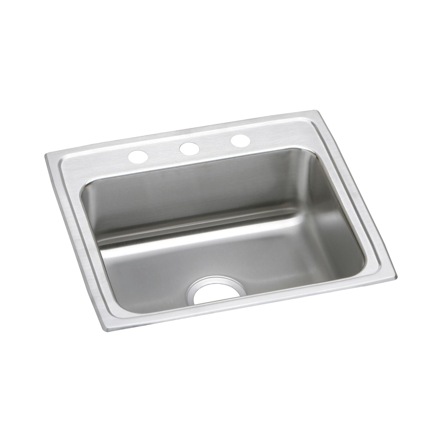 Elkay® LR22193 Gourmet Kitchen Sink, Rectangular, 3 Faucet Holes, 22 in W x 19-1/2 in D x 7-5/8 in H, Top Mount, Stainless Steel, Lustertone, Domestic