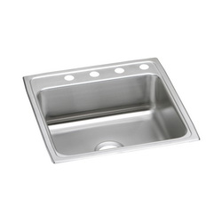 Elkay® LR22224 Kitchen Sink, Gourmet, Rectangular, 19 in L x 16 in W x 7-1/2 in D Bowl, 4 Faucet Holes, 22 in L x 22 in W x 7-5/8 in H, Top Mount, Stainless Steel, Lustertone