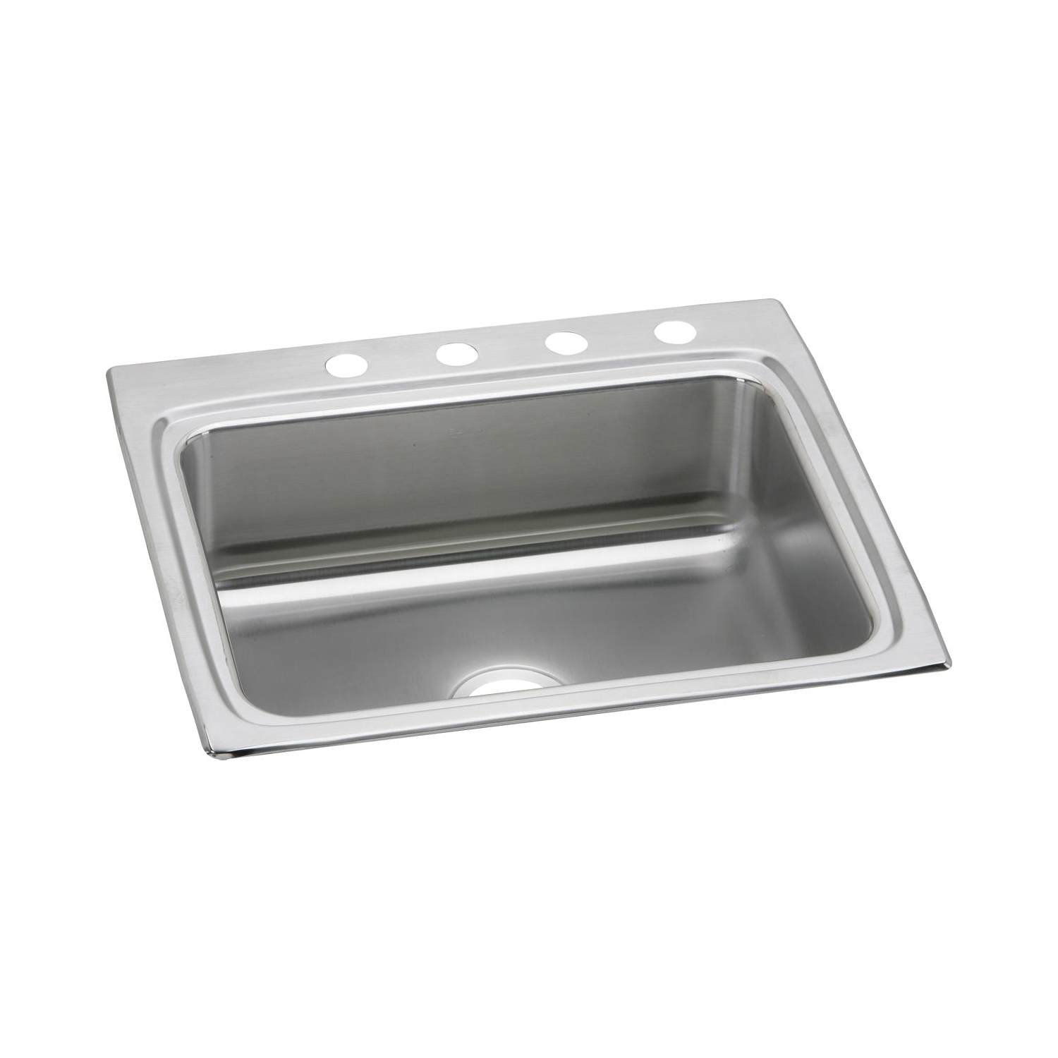 Elkay® LR25224 Gourmet Kitchen Sink, Rectangular, 4 Faucet Holes, 25 in W x 22 in D x 8-1/8 in H, Top Mount, Stainless Steel, Lustertone, Domestic