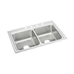 Elkay® LR33222 Kitchen Sink, Gourmet, Rectangular, 13-1/2 in L x 16 in W x 7-3/4 in D Left Bowl, 13-1/2 in L x 16 in W x 7-3/4 in D Right Bowl, 2 Faucet Holes, 33 in L x 22 in W x 8-1/8 in H, Top Mount, Stainless Steel, Lustertone