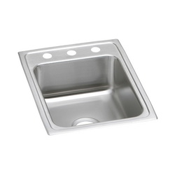 Elkay® LRAD1722603 Kitchen Sink, Gourmet, Rectangular, 13-1/2 in L x 16 in W x 5-7/8 in D Bowl, 3 Faucet Holes, 17 in L x 22 in W x 6 in H, Top Mount, Stainless Steel, Lustertone
