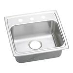 Elkay® LRAD191865OS4 Kitchen Sink, Gourmet, Rectangular, 16 in L x 11-1/2 in W x 6-3/8 in D Bowl, OS4 Faucet Holes, 19 in L x 18 in W x 6-1/2 in H, Top Mount, Stainless Steel, Lustertone