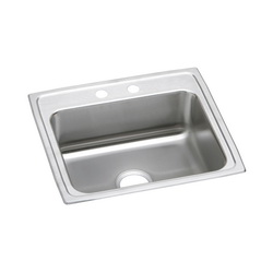Elkay® LRAD2219602 Kitchen Sink, Gourmet, Rectangular, 18 in L x 14 in W x 5-7/8 in D Bowl, 2 Faucet Holes, 22 in L x 19-1/2 in W x 6 in H, Top Mount, Stainless Steel, Lustertone