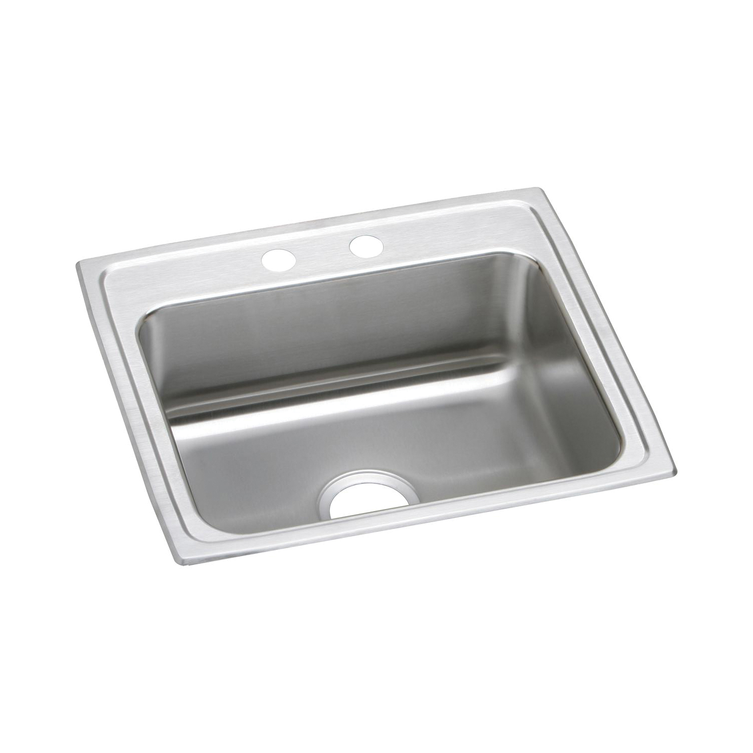 Elkay® LRAD2219653 Gourmet Kitchen Sink, Rectangular, 3 Faucet Holes, 22 in W x 19-1/2 in D x 6-1/2 in H, Top Mount, Stainless Steel, Lustertone, Domestic