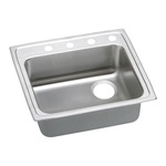 Elkay® LRAD252160R1 Kitchen Sink, Gourmet, Rectangular, 21 in L x 15-3/4 in W x 5-7/8 in D Bowl, 1 Faucet Hole, 25 in L x 21-1/4 in W x 6 in H, Top Mount, Stainless Steel, Lustertone