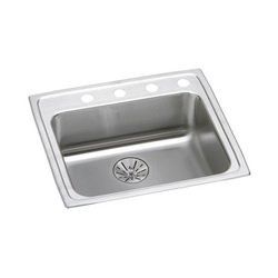 Elkay® LRAD252165PD3 Traditional Kitchen Sink, Rectangular, 3 Faucet Holes, 21-1/4 in W x 6-1/2 in H, Top Mount, Stainless Steel, Lustertone