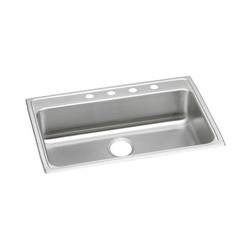 Elkay® LRAD3122603 Kitchen Sink, Gourmet, Rectangular, 28 in L x 16 in W x 5-7/8 in D Bowl, 3 Faucet Holes, 31 in L x 22 in W x 6 in H, Top Mount, Stainless Steel, Lustertone
