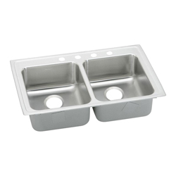 Elkay® LRAD3722653 Kitchen Sink, Gourmet, Rectangular, 16 in L x 16 in W x 6-3/8 in D Left Bowl, 16 in L x 16 in W x 6-3/8 in D Right Bowl, 3 Faucet Holes, 37 in L x 22 in W x 6-1/2 in H, Top Mount, Stainless Steel, Lustertone