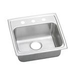 Elkay® LRADQ1919653 Kitchen Sink, Gourmet, Rectangular, 16 in L x 13-1/2 in W x 6-3/8 in D Bowl, 3 Faucet Holes, 19-1/2 in L x 19 in W x 6-1/2 in H, Top Mount, Stainless Steel, Lustertone
