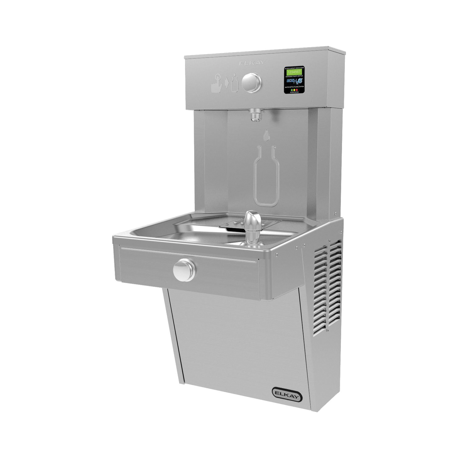 Elkay® LVRCDWSK Filtered Bottle Filling Station and Cooler, 1.5 gpm, Pushbutton Operation, Non-Refrigerated Chilling, Domestic