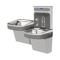 Elkay® LZSTL8WSVRLK Filtered Bottle Filling Station and Bi-Level Cooler, 1.1 gpm, Push Bar/Sensor Operation, Refrigerated Chilling, 2 Stations, Domestic