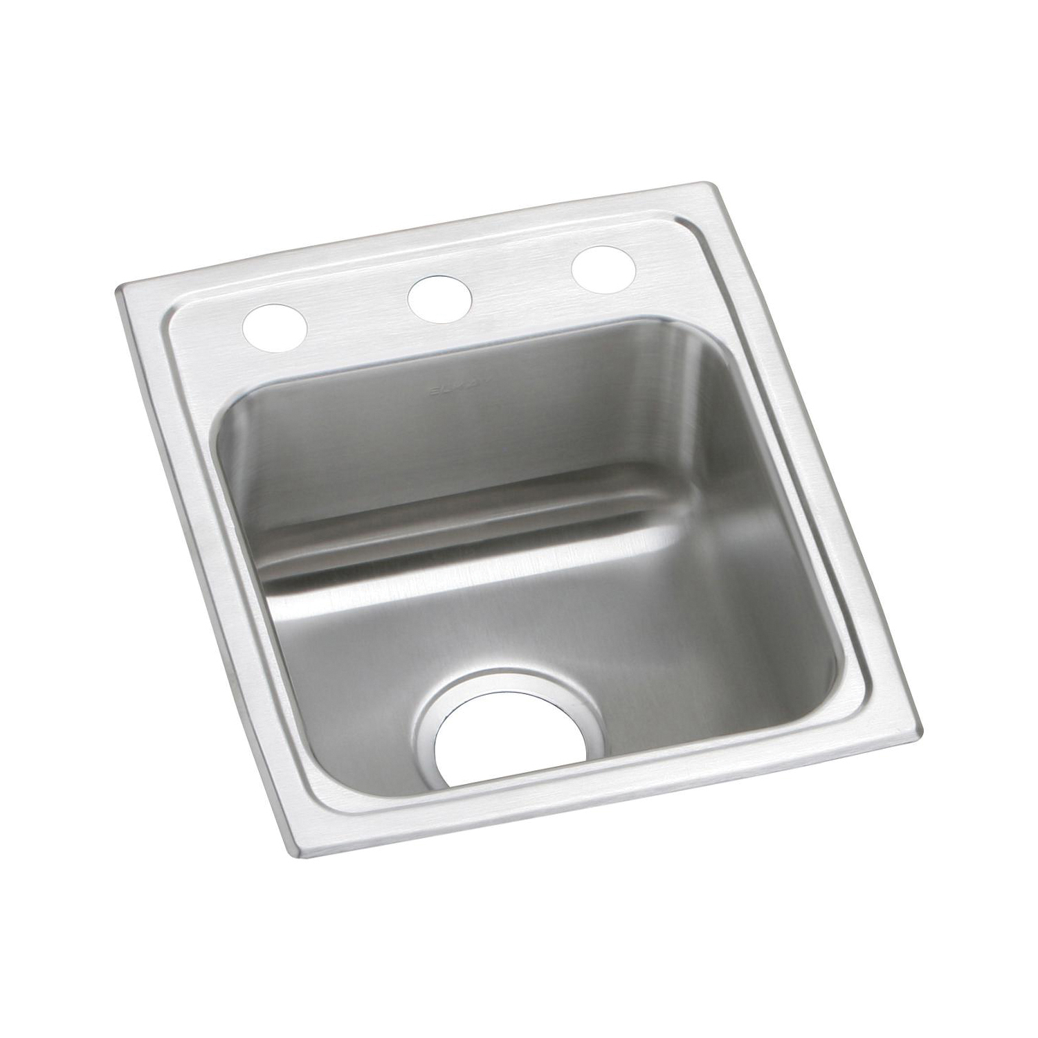 Elkay® PSR15173 Pacemaker Bar Sink, Rectangular, 3 Faucet Holes, 15 in W x 17-1/2 in D x 7-1/8 in H, Top Mount, Stainless Steel, Brilliant Satin, Domestic