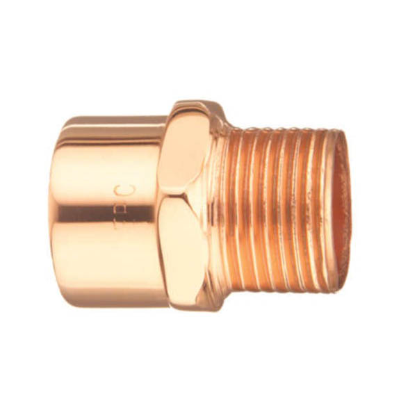 EPC 10030316 104-R Solder Reducing Male Adapter, 1/2 x 3/4 in, C x MNPT, Copper, Domestic