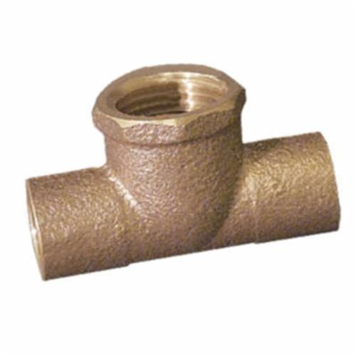 EPC 10037409 4712 Straight Solder Pipe Tee, 1/2 x 1/2 x 1/2 in, C x C x FNPT, Brass, Domestic