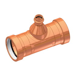 EPC ApolloPRESS® 10068081 811R Large Diameter Press Reducer Outlet Tee, 4 x 4 x 3/4 in, C x C x C, Copper, Domestic