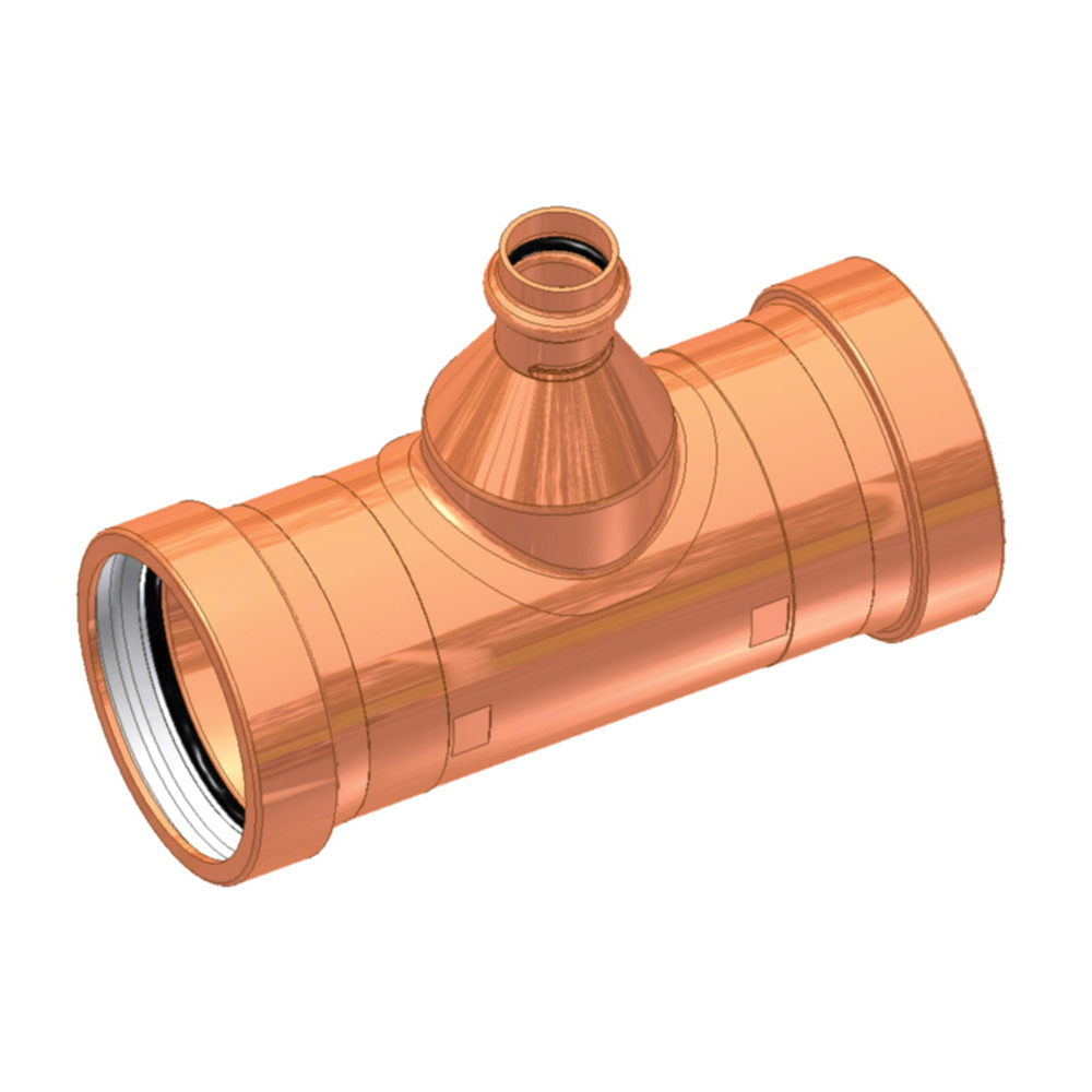 EPC ApolloPRESS® 10068090 811R Large Diameter Press Reducer Outlet Tee, 4 x 4 x 1-1/2 in, C x C x C, Copper, Domestic