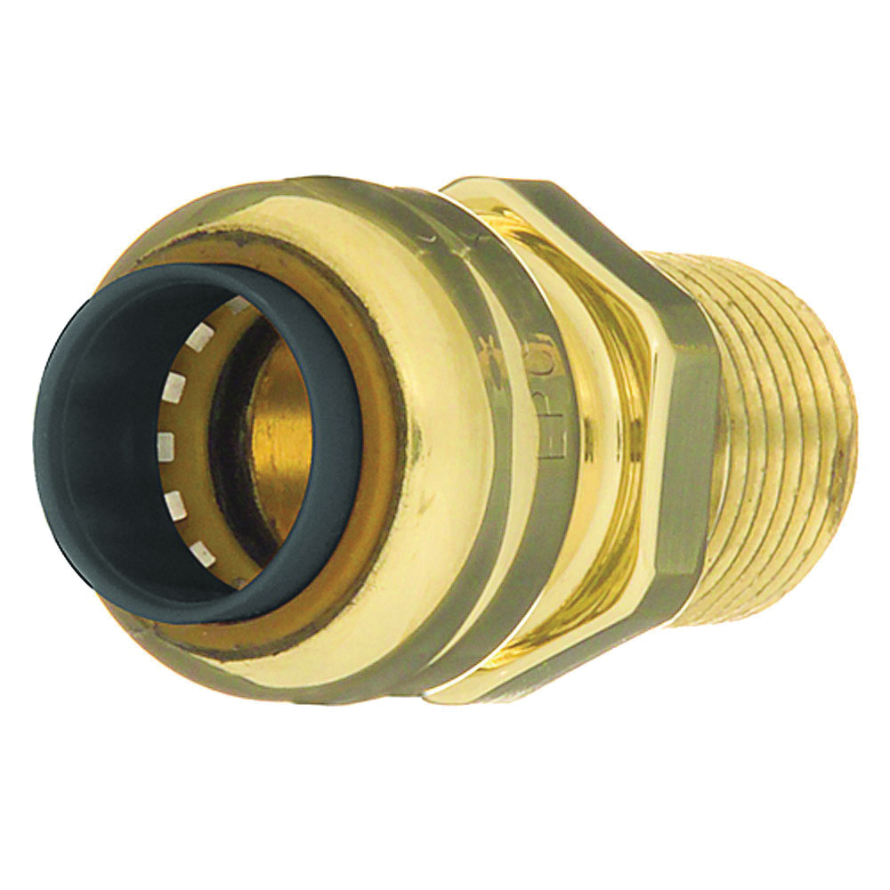 EPC TECTITE™ 10155468 204 Push Pipe Adapter, 1/2 in, C x Male, Brass, Domestic