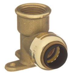 EPC TECTITE™ 10155484 2707-3-5 Female Drop-Ear Push 90 deg Elbow, 1/2 in, C x Female, Brass