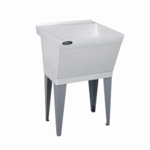 ELM® 17F UTILATUB® Single Bowl Laundry/Utility Tub, Rectangular, 23 in W x 23-1/2 in D x 34 in H, Floor Mount, Durastone®, White