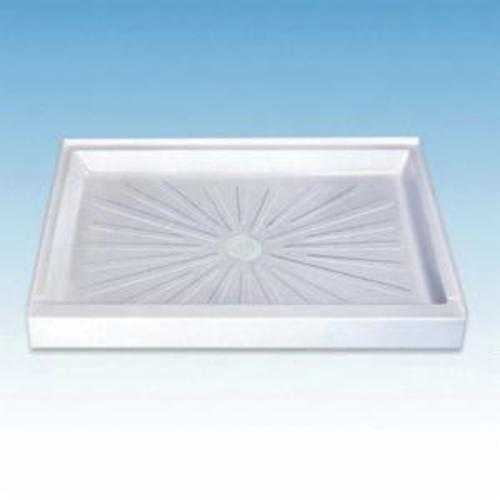 ELM® 3448M WHT DuraBase® 1-Piece Shower Base, 48 in L x 34 in W, Center Drain, Domestic