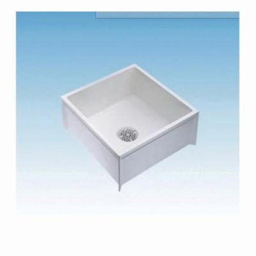 ELM® 63M 1-Piece Mop Service Basin, 24 in W x 10 in D x 24 in H, Floor Mount, Durastone®, White, Domestic