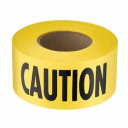 Empire® 77-1001 Barricade Tape, CAUTION, 3 in W x 1000 ft L, Yellow/Black, Plastic