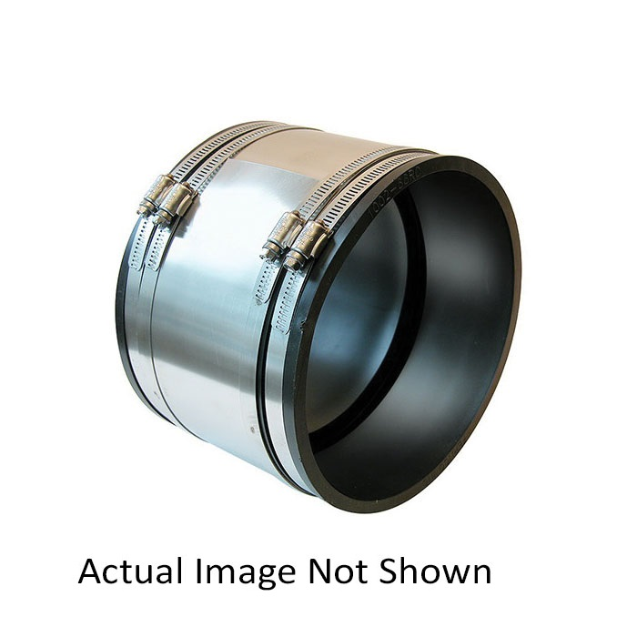 Fernco® 1006-44RC 1006 RC Strong Back Flexible Repair Coupling With Reducer, 4 in, Concrete x Cast Iron/Plastic, Flexible PVC