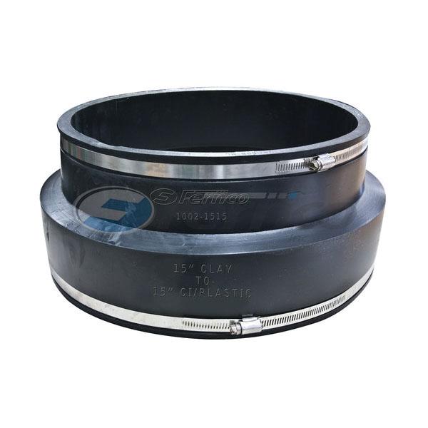 Fernco® 1002-1515 Standard Stock Coupling, 15 in, Clay x Cast Iron/Copper/Lead/Plastic/Steel, 60 Duro Shore A Flexible PVC, Domestic