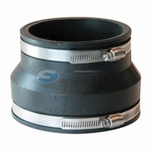 Fernco® 1002-44 Flexible Pipe Coupling, 4 in, Clay x PVC, PVC, Domestic