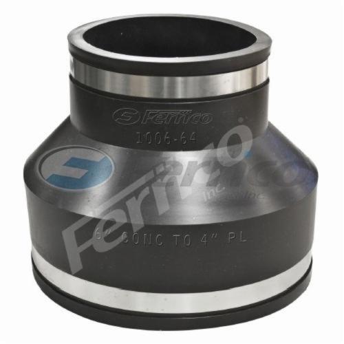 Fernco® 1006-64 Flexible Pipe Coupling, 6 x 4 in, Concrete x Plastic/Cast Iron, PVC, Domestic