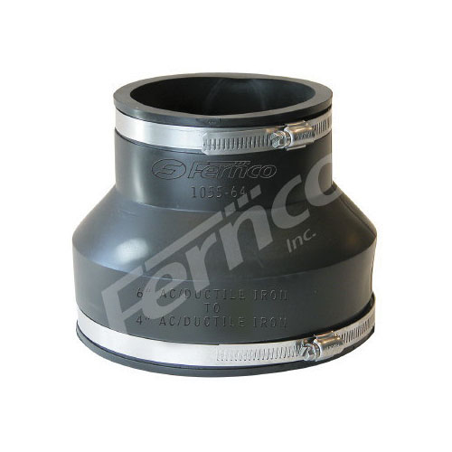 Fernco® 1055-64 Standard Flexible Stock Coupling, 6 x 4 in, Asbestos Cement Fiber/Ductile Iron, Flexible PVC