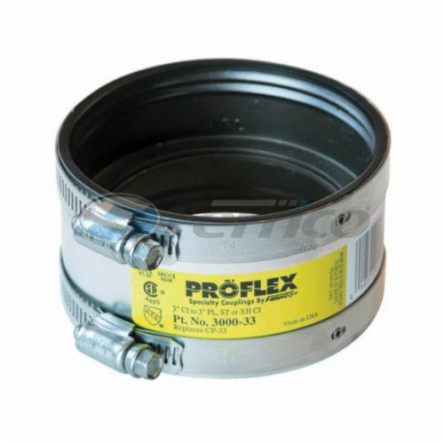 Fernco® PROFLEX® 3000-33 Shielded Pipe Coupling, 3 in, Cast Iron x Plastic/Steel/XH Cast Iron, PVC, Domestic