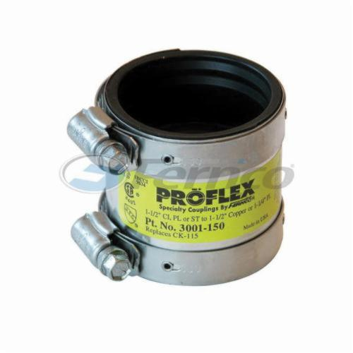 Fernco® PROFLEX® 3001 Shielded Pipe Coupling, 1-1/2 in, Cast Iron/Plastic/Steel x Copper/Plastic, Domestic