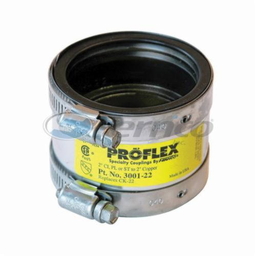 Fernco® PROFLEX® 3001-22 Shielded Pipe Coupling, 2 in, Cast Iron/Plastic/Steel x Copper, Domestic