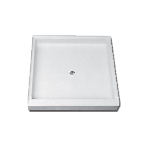 Florestone™ 3636-1-WHT Single Threshold Recess Shower Receptor, 36 in W x 4-3/4 in D, 4 in Dia Drain Hole