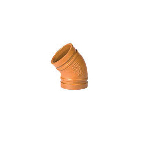 Grinnell® 20140GS 45 deg Pipe Elbow, 4 in, Grooved, Ductile Iron, Hot-Dipped Galvanized