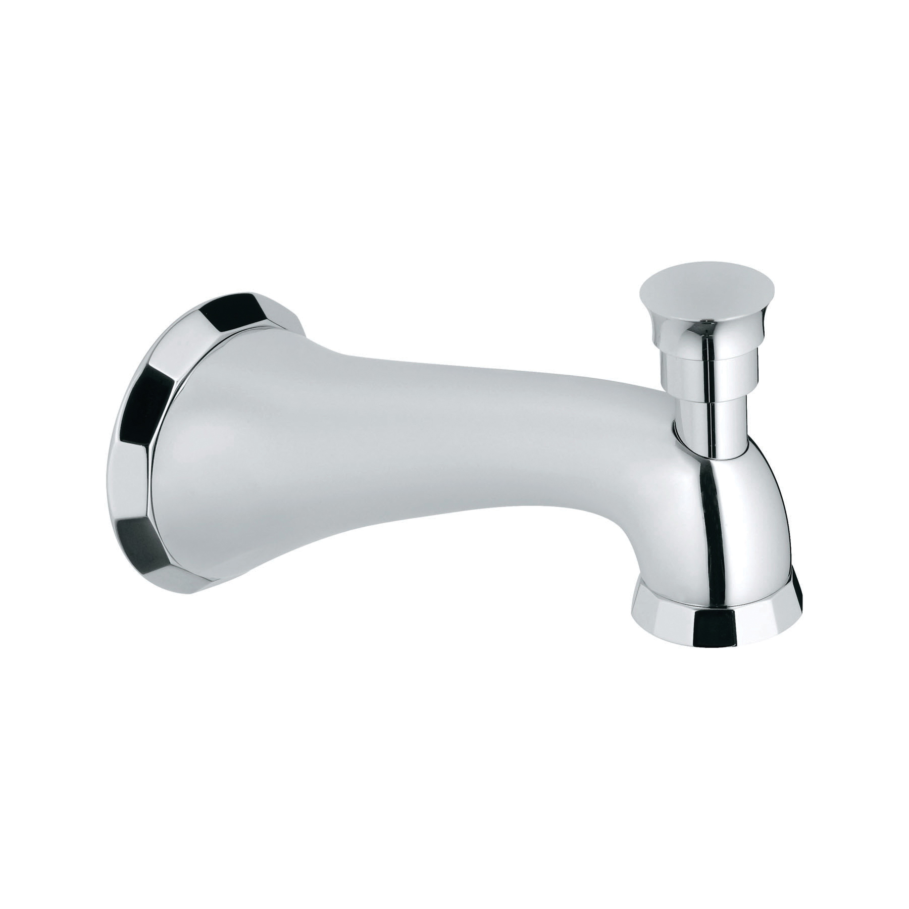 GROHE 13194000 Kensington Wall Mounted Tub Spout With Flow Control and Diverter, 13.2 gpm, 6 in Spout Reach, StarLight® Chrome, Import