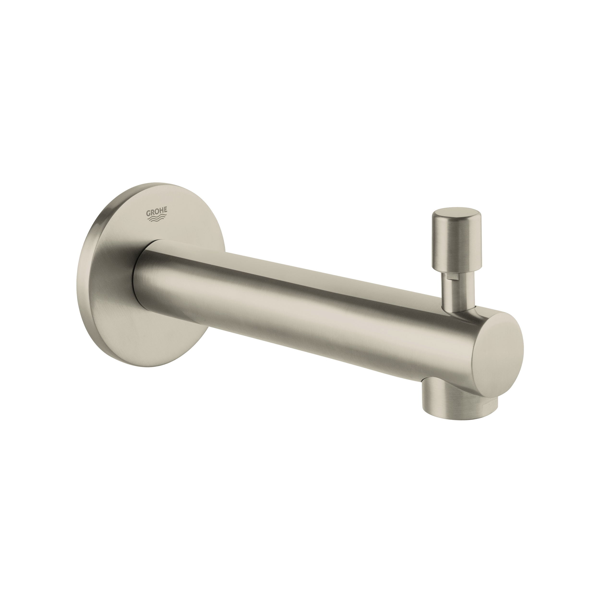GROHE 13275EN1 Concetto Tub Spout, 6-11/16 in L, 1/2 in FNPT Connection, Brass, Brushed Nickel, Import