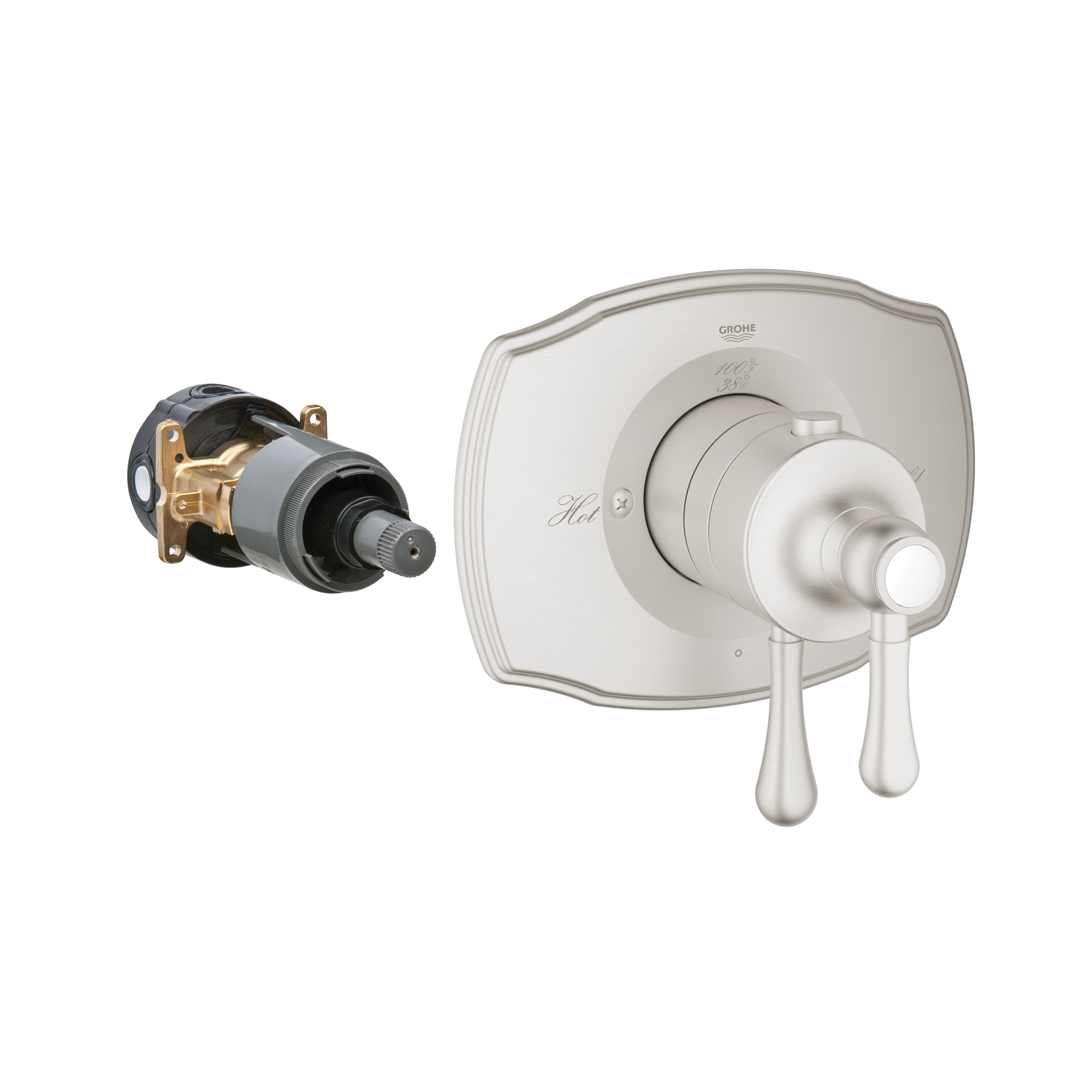GROHE 19822EN0 GrohFlex™ 2000 1-Function Trim, 6.3 gpm Shower, Hand Shower Yes/No: No, StarLight® Brushed Nickel