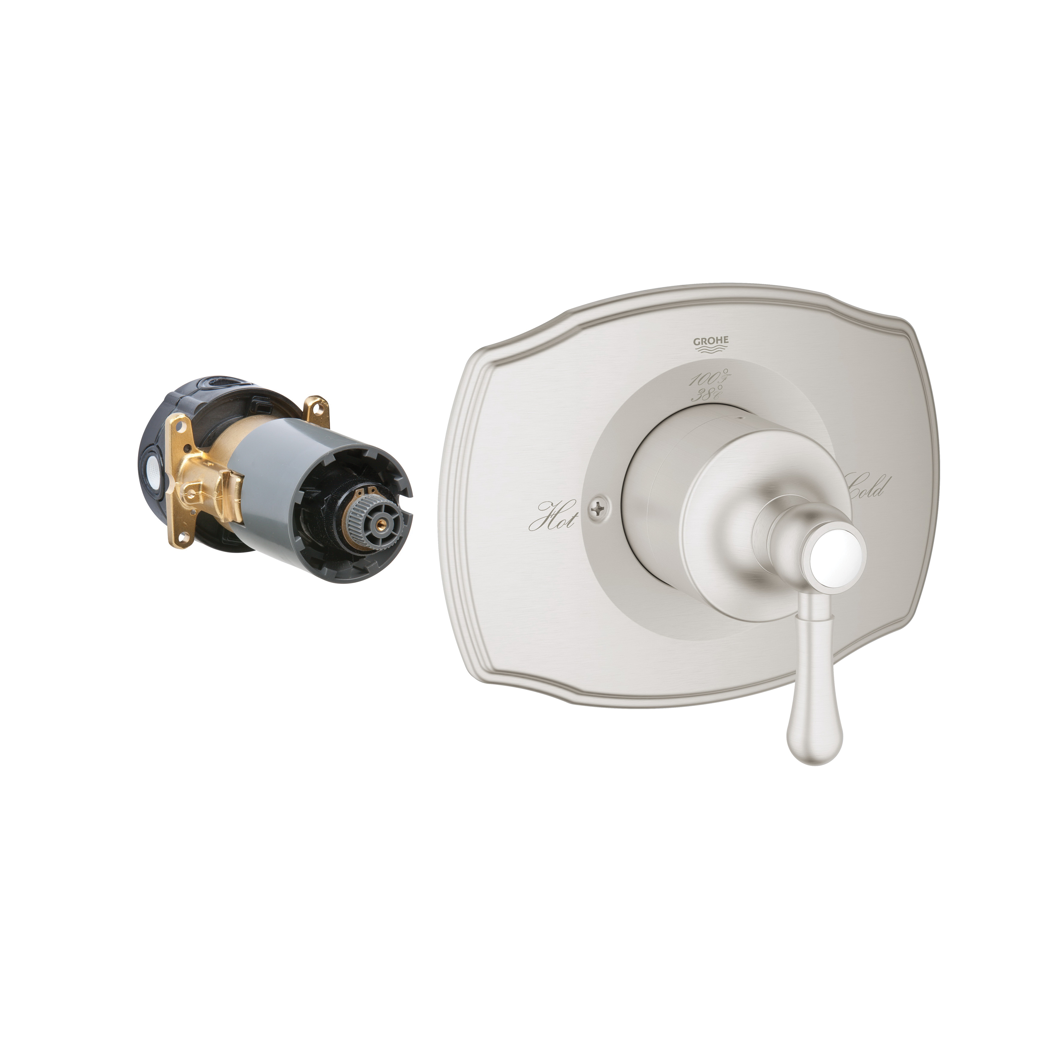 GROHE 19843EN0 Grohtherm 2000 Authentic Valve Trim, 6.1 gpm Shower, Brushed Nickel