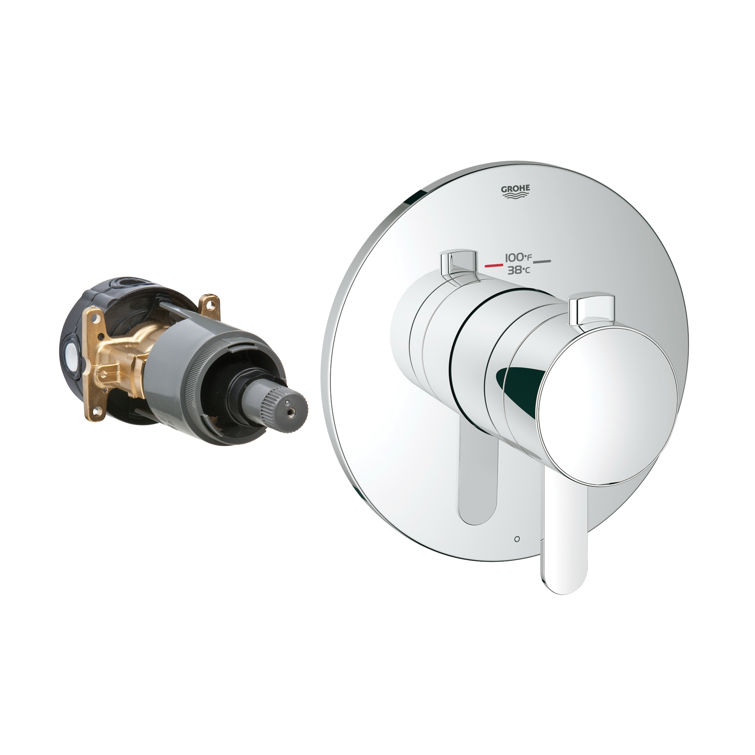 GROHE 19869000 Europlus® 1-Function Trim, 6.3 gpm Shower, Hand Shower Yes/No: No, Chrome Plated